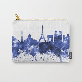 Paris skyline in blue watercolor on white background Carry-All Pouch
