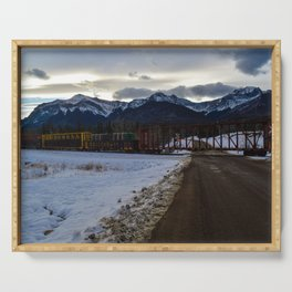 CN rolling through the Rockies, Near Brule Alberta Serving Tray