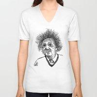 einstein V-neck T-shirts featuring Einstein by AlphaVariable