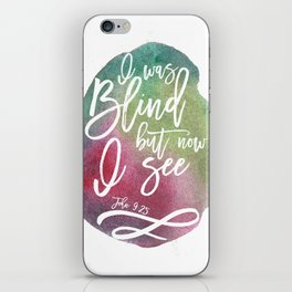 Bible verse typography on green pink watercolor background John 9:25 iPhone Skin