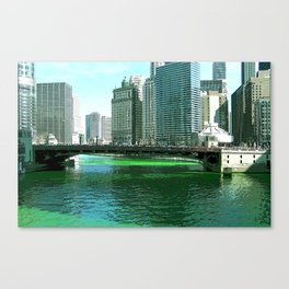 Chicago River on St. Patrick's Day #Chicago Canvas Print