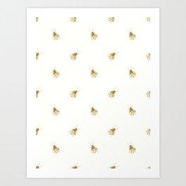Gold Watercolour Bee Print Art Print