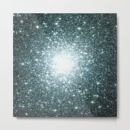 Ash Naples Blue Teal Galaxy Sparkle Stars Metal Print