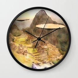 UFO over Machu Picchu Wall Clock