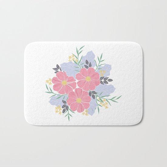 Vintage Pink Flowers Bath Mat
