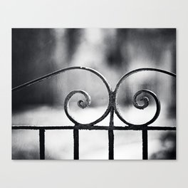 Black and White Wrought Iron Gate Photography, Dark Grey Old Vintage Fence Gray Architecture Minimal Canvas Print