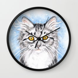 Silver Tabby Cat Wall Clock