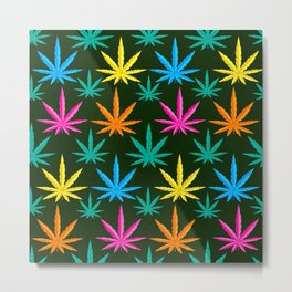 Colorful Marijuana weed Metal Print