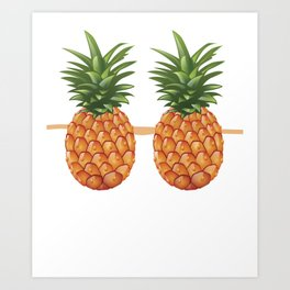Pineapple Bra Funny Fake Brassiere Lazy Costume Art Print