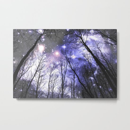 Black Trees Periwinkle Lavender space Metal Print