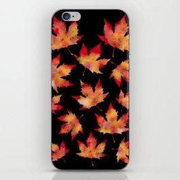 Maple leaves black iPhone Skin