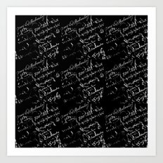 White French Script on Black Art Print