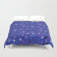 witchcraft Duvet Covers featuring Witchcraft mystic signs by Daria Rosen