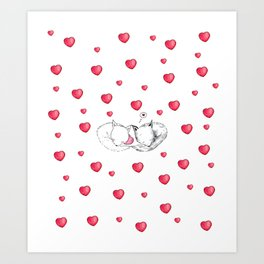 Cute Foxes in Love with Hearts Art Print