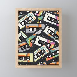 Retro Vintage Cassette Tapes Framed Mini Art Print