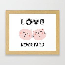 Love Never Fails Two Cats Framed Art Print