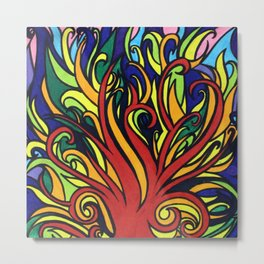 Rainbow Fire Metal Print