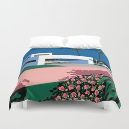 Beautiful pink home with garage and two cars Duvet Cover