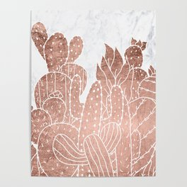 Modern faux rose gold cactus hand drawn pattern illustration white marble Poster
