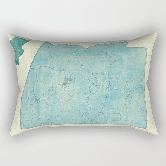 Arizona State Map Blue Vintage Rectangular Pillow