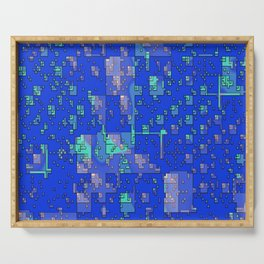 Abstract Blue Cityscape Serving Tray