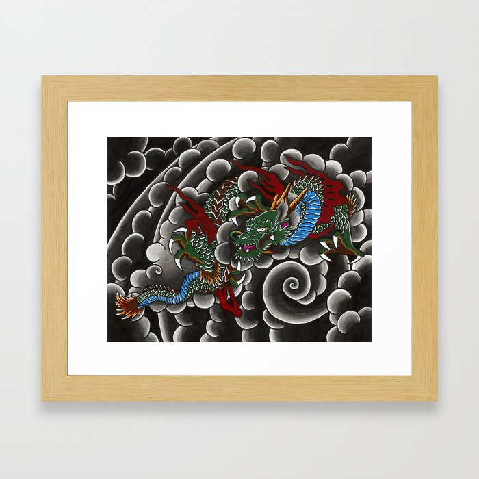 Japanese tattoo style dragon in sumi ink wash and watercolor Framed Art Print