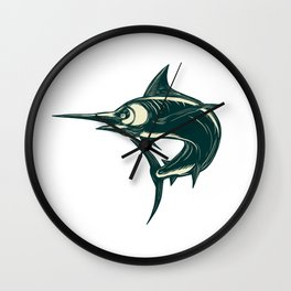 Blue Marlin Jump Scratchboard Wall Clock