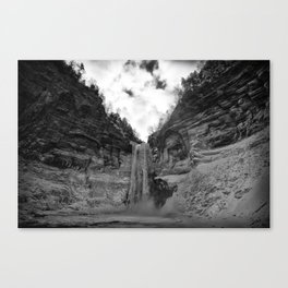 Taughannock Falls State Park in winter (black and white) Canvas Print