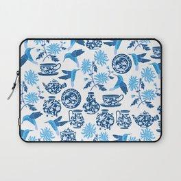 Blue Hummingbirds and Flowers Laptop Sleeve