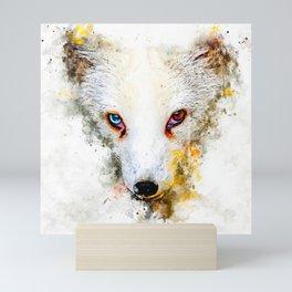 arctic fox bicolor eyes ws std Mini Art Print