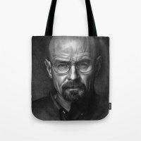 heisenberg Tote Bags featuring Heisenberg by Mike Robins