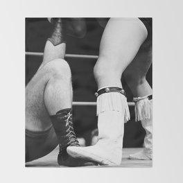 wrestling boots Throw Blanket
