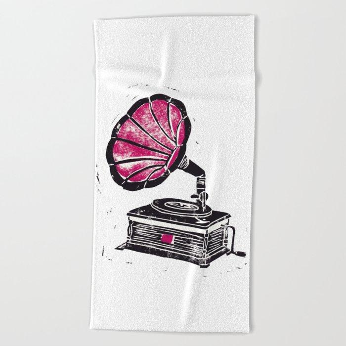Linocut Gramophone Beach Towel