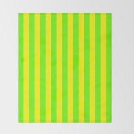 Super Bright Neon Yellow and Green Vertical Beach Hut Stripes Throw Blanket