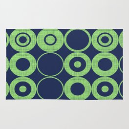 Green Bubbles on blue Rug