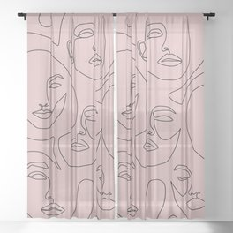 Blush Faces Sheer Curtain