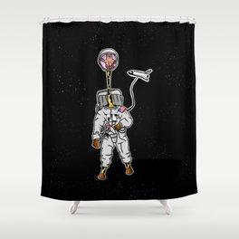 Giraffe astronaut Shower Curtain