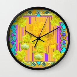 Yellow-Lilac  Golden Iris Garden Patterned Art Wall Clock