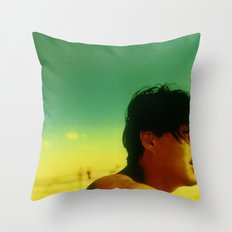 Asian Green and Yellow Throw Pillow