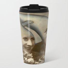 NoodleHeadz - Oil Paint on top of old vintage photography Metal Travel Mug