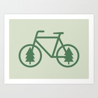 portlandia Art Prints featuring Pacific Northwest Cycling - Bike, Bicycle, Portland, PDX, Seattle, Washington, Oregon, Portlandia by Corrie Jacobs