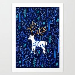 Deericorn In Blue Art Print