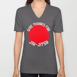 Give Thanks For Jiu-Jitsu Cirlce Red Unisex V-Neck