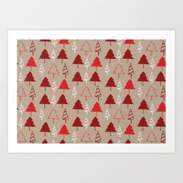 Christmas Tree Red and Brown Art Print