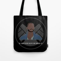 agents of shield Tote Bags featuring Agents of S.H.I.E.L.D. - Trip by MacGuffin Designs