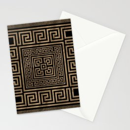 Greek Key Ornament - Greek Meander -Gold on Black Stationery Cards