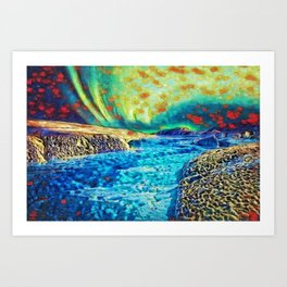 A Polar Experience | Northern Lights and River - Abstract Oil Painting Art Print