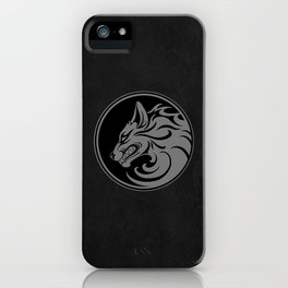 Gray and Black Growling Wolf Disc iPhone Case