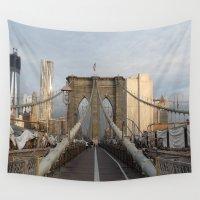 brooklyn bridge Wall Tapestries featuring Brooklyn Bridge by Raquel Sanchis