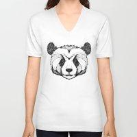 panda V-neck T-shirts featuring Panda by Andreas Preis